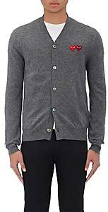 Comme des Garcons Men's Double-Heart-Patch Wool Cardigan - Gray