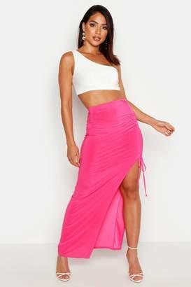 39b53f508dc6 boohoo Slinky Ruched Detail Split Maxi Skirt