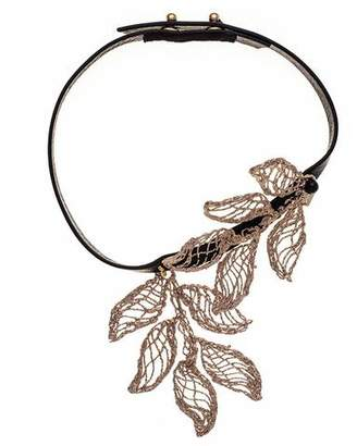 Black Electra Bronze and Leather Choker with Pendant