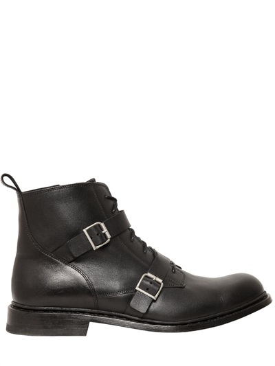 Balmain 30mm Double Belted Leather Low Boots