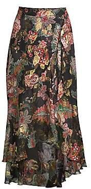 The Kooples Women's Floral Frill Silk Midi Skirt