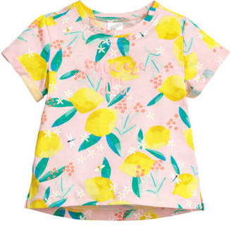 H&M Jersey Top with Printed Design - Pink