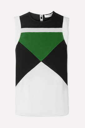 Givenchy Color-block Silk Crepe De Chine Top - Green