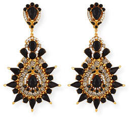 Jose & Maria Barrera Black Crystal Starburst Clip-On Earrings