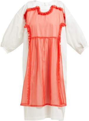 Comme des Garcons Cotton Poplin And Georgette Dress - Womens - Red