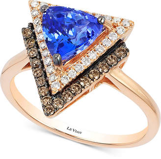 LeVian Neo Geo Le Vian Tanzanite (1 ct. t.w.) and Diamond (1/3 ct. t.w.) Geometric Ring in 14k Rose Gold, Created for Macy's