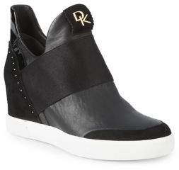 Donna Karan Cailin Embellished Paneled High-Top Sneakers
