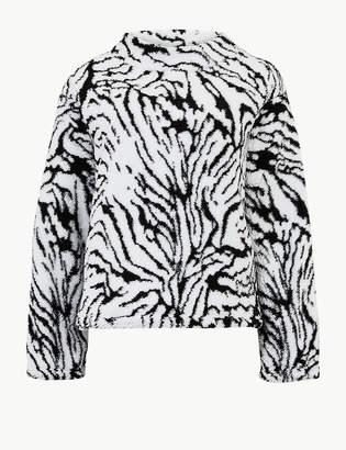 Marks and Spencer Animal Print Long Sleeve Borg Sweatshirt