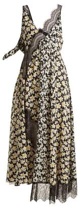 Joseph Bronte Floral Print Contrast Panel Dress - Womens - Black Multi