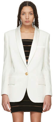 Balmain White Satin Lapel Single-Button Blazer