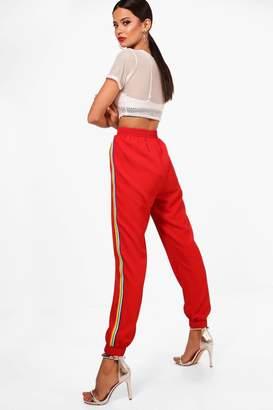 boohoo Hazel Woven Rainbow Sports Stripe Track Trouser