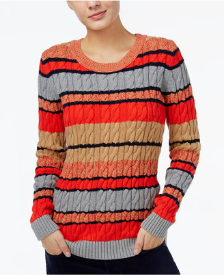 Tommy Hilfiger Cecelia Striped Cable-Knit Sweater, Only at Macy's $79.50 thestylecure.com