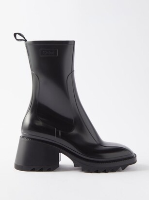 Chloé Betty Heeled Rubber Boots - Womens - Black