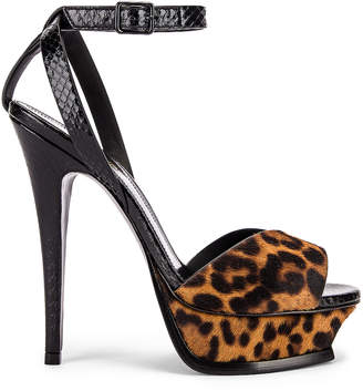 Saint Laurent Tribute Leopard Platform Heels in Natural & Black | FWRD