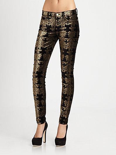 7 For All Mankind The Skinny Velvet Brocade Pants