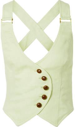 Zimmermann Corsage Cropped Open-back Linen Vest - Mint