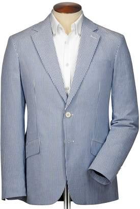 Charles Tyrwhitt Classic Fit Blue Striped Cotton Seersucker Cotton Jacket Size 48