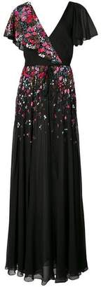 Carolina Herrera Floral Appilque Dress