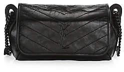 Saint Laurent Women's Niki Crinkle Chevron-Quilt Leather Messenger & Belt Bag
