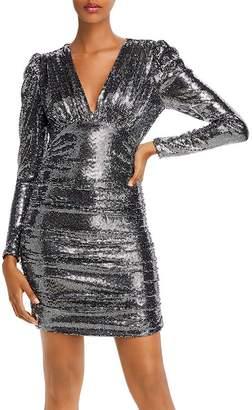 BCBGMAXAZRIA Ruched Gunmetal Sequin Cocktail Dress