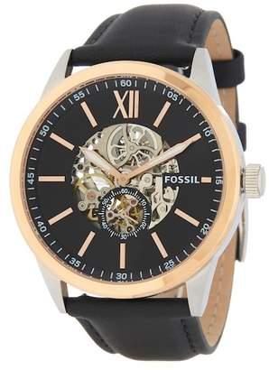 Fossil Men's Flynn Mechanical Leather Strap Watch, 48mm