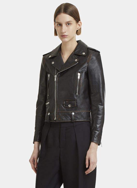 Leather Crust Biker Jacket in Black