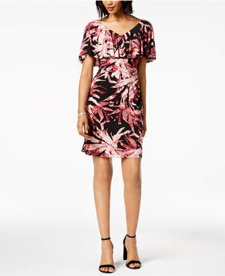 Connected Petite Printed Ruched Ruffled Dress