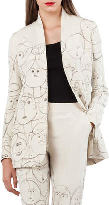 Akris Oliana Snap-Front Silk Crepe Jacket with Faces-Print