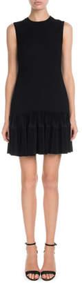 Victoria Beckham Victoria Sleeveless Round-Neck Shift Dress w/ Flounce Hem