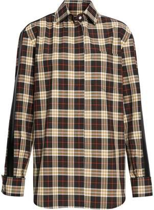 Burberry Stripe Detail Check Cotton Shirt