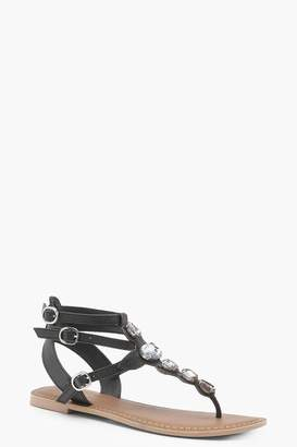 boohoo Jewelled Ankle Strap Leather Sandals