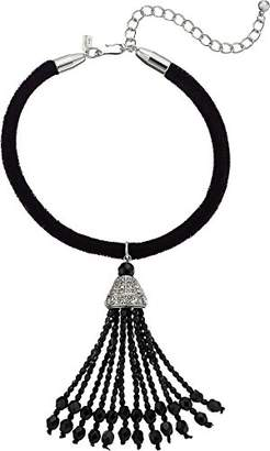 Kenneth Jay Lane Women's Velvet Rope with Jet and Crystal Tassel Choker Necklace