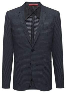 HUGO Boss Extra-slim-fit micro-pattern jacket in a stretch cotton 38R Dark Blue