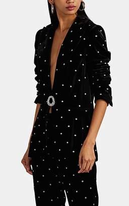 RAQUEL DINIZ Women's Eunice Crystal-Brooch Silk Velvet Jacket