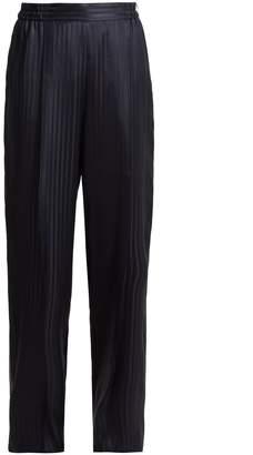 Stella McCartney High-rise striped-jacquard silk-satin trousers