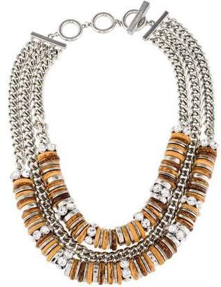 Givenchy Wood Bead & Crystal Multistrand Necklace