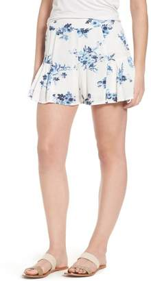 Moon River Floral Ruffle Hem Shorts
