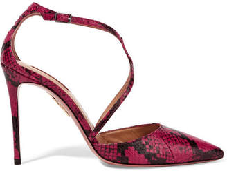 Aquazzura Charisma Elaphe Pumps - Claret