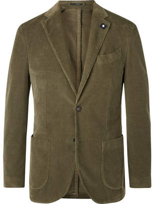 Lardini Green Slim-Fit Unstructured Stretch-Cotton Corduroy Blazer