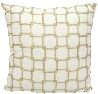 Nourison Luminecence Interlock Squares White Throw Pillow