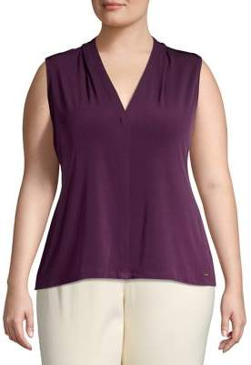 Calvin Klein Plus Sleeveless V-Neck Blouse