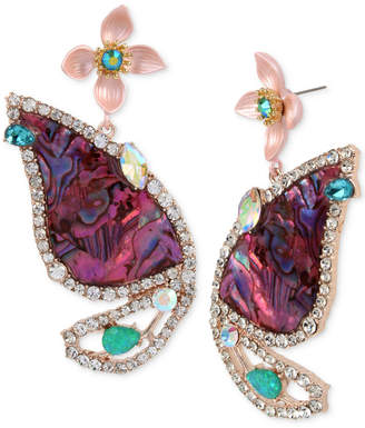 Betsey Johnson Rose Gold-Tone Stone & Crystal Butterfly Wing Drop Earrings