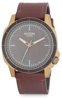 Nixon Ranger Stainless Steel and Leather Strap Watch