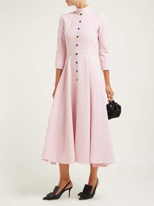 Emilia Wickstead Ashton Panelled Wool Crepe Midi Dress - Womens - Light Pink