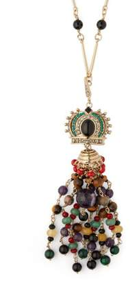 Etro Beaded Crystal Embellished Crown Pendant Necklace - Womens - Multi