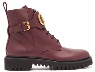 Valentino V Logo Leather Lace Up Boots - Womens - Burgundy