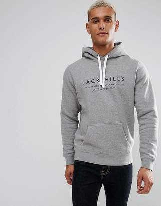Jack Wills Batsford Hoodie In Grey Marl