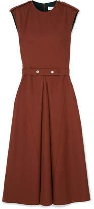 Victoria Beckham Pleated Wool Midi Dress - Brown