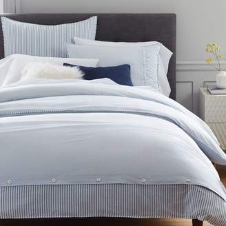 west elm Organic Washed Cotton Stripe Duvet Cover - Kyoto Blue