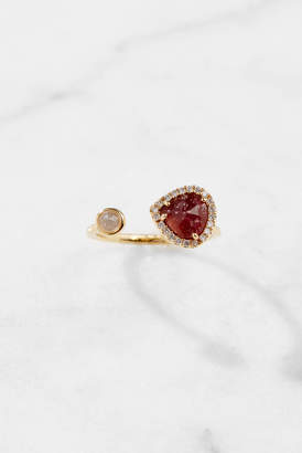 Tai Adjustable Deep Red Opaque Stone Gold Ring